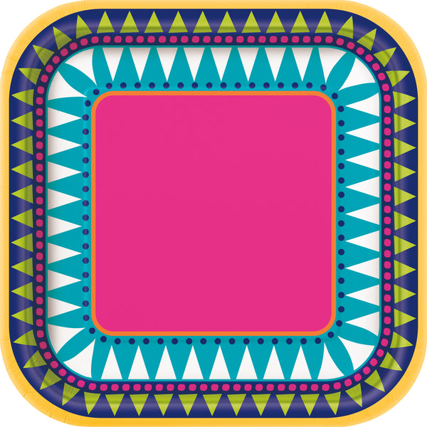 7 inch multi-coloured fiesta themed square dessert plates 10 count