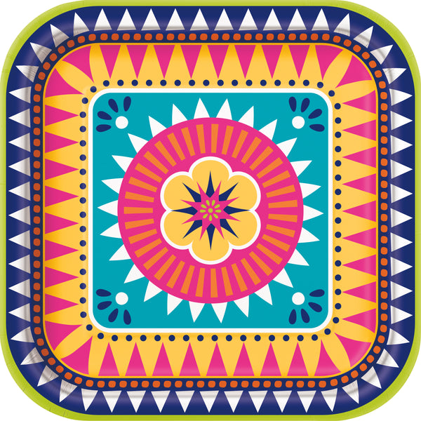 9 inch multi-coloured fiesta themed square dinner plates 8 count