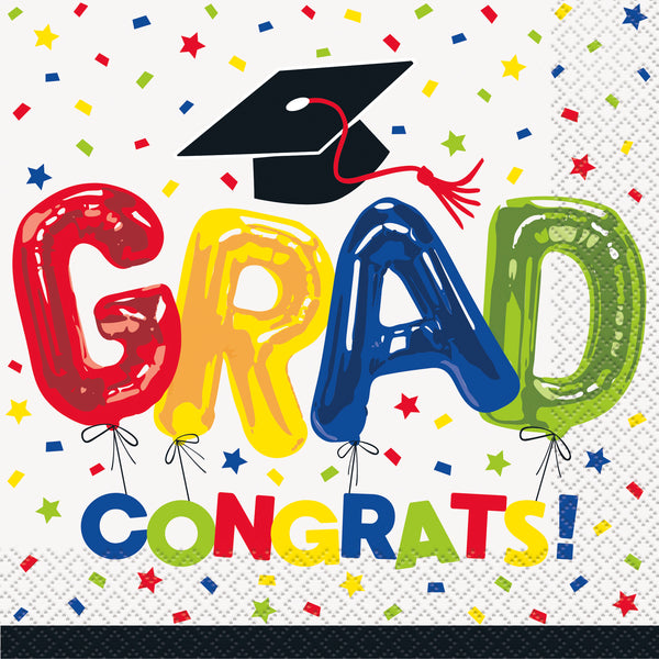letter balloon congrats grad luncheon napkins 16 count