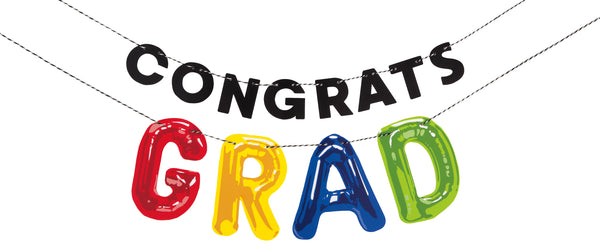 congrats grad letter balloon banner, measures 6 feet