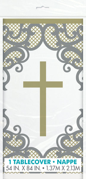 plastic table cover with gold cross and filigree
