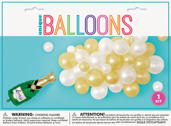 balloon cascade kit with champagne foil balloon