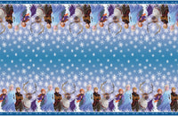 frozen plastic tablecover anna elsa sven olaf and kristoff with snowflakes 54 inches by 84 inches