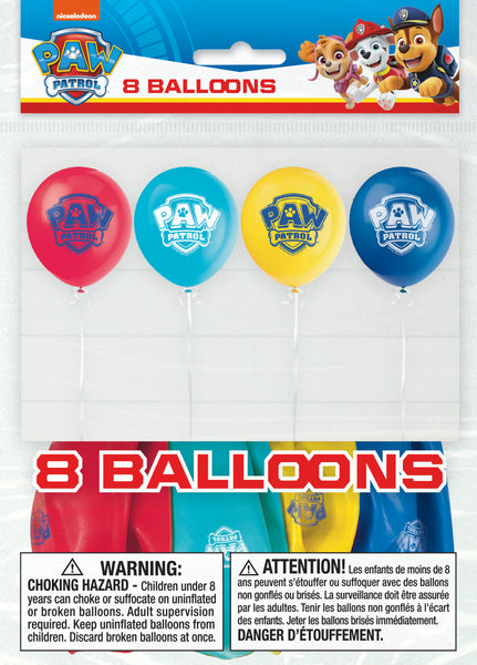 paw patrol latex balloons, 8 per package