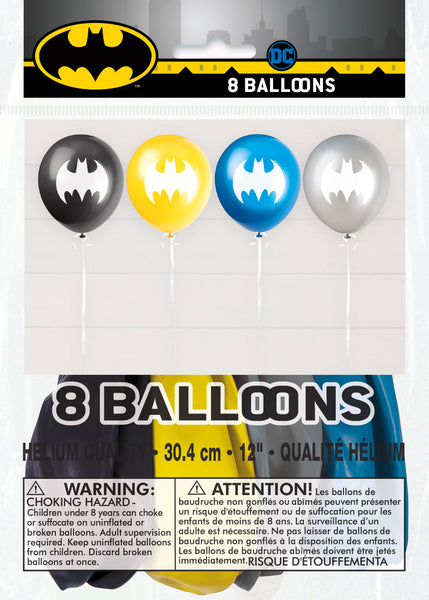 batman 12 inch latex balloons 8 count packaged
