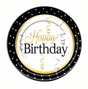 happy birthday dinner plates, black edge with dots gold and silver with streamers & confetti