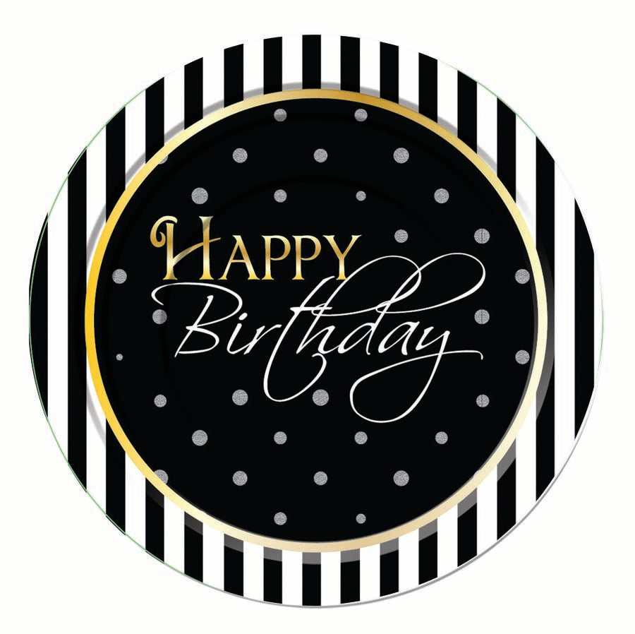 happy birthday dessert plates, black and white striped edge with black background and silver dots