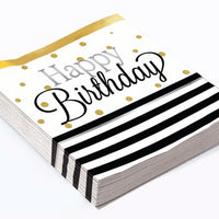 happy birthday beverage napkins, black stripes with white background and gold dots