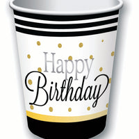 happy birthday 9oz cups, black edge with white background and gold dots