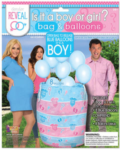 gender reveal balloon bag, 8 empty blue balloons included