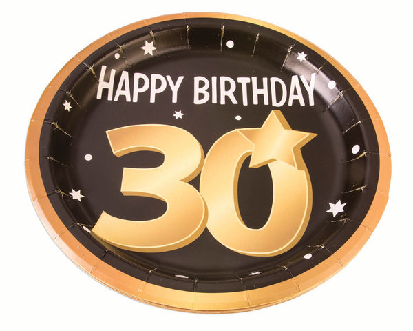 30th birthday milestone 9 inch black plates with gold number 30, stars and edging 8 per package