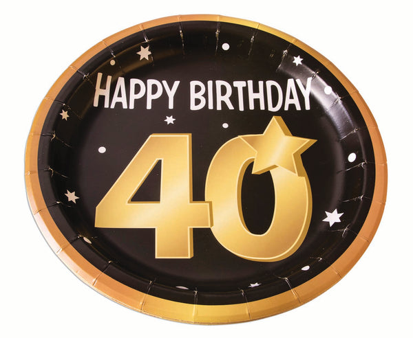 40th birthday milestone 9 inch black plates with gold number 40, stars and edging 8 per package