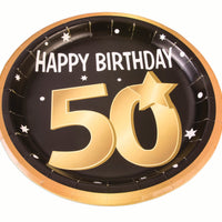 50th birthday milestone 9 inch black plates with gold number 50, stars and edging 8 per package