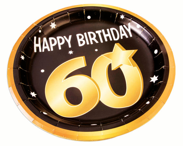 60th birthday milestone 9 inch black plates with gold number 60, stars and edging 8 per package