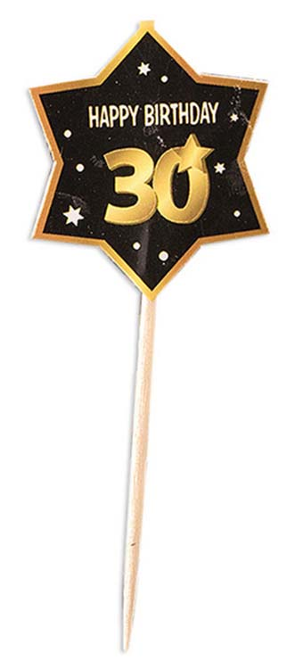 30th birthday milestone black party picks with gold number 30, stars and edging 12 per package