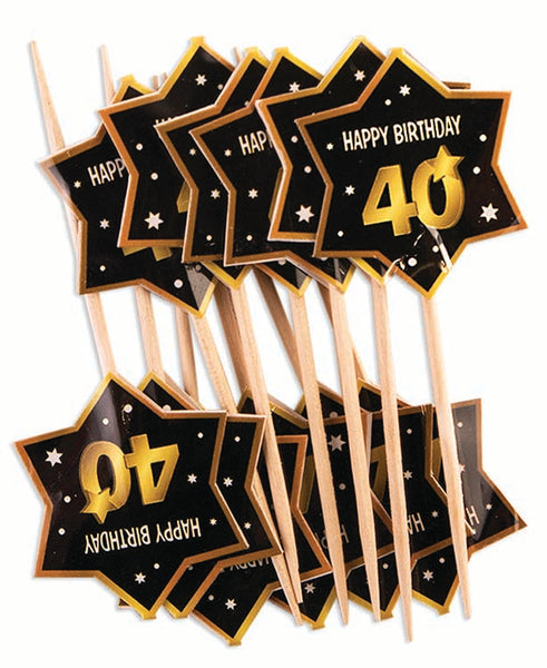 40th birthday milestone black party picks with gold number 40, stars and edging 12 per package