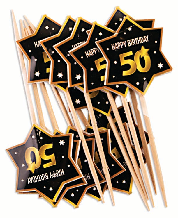 50th birthday milestone black party picks with gold number 50, stars and edging 12 per package