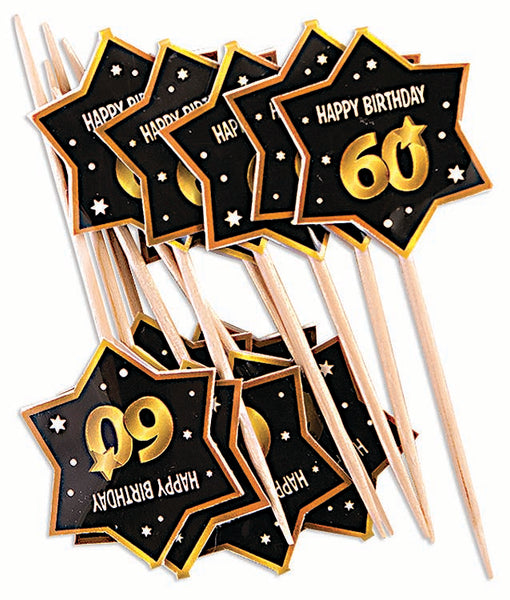 60th birthday milestone black party picks with gold number 60, stars and edging 12 per package