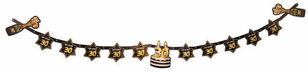 30th birthday milestone banner black with gold number 30 & stars, cake and champagne bottles  1 per package