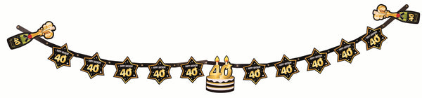 40th birthday milestone banner black with gold number 40 & stars, cake and champagne bottles  1 per package