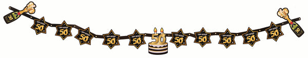 50th birthday milestone banner black with gold number 50 & stars, cake and champagne bottles  1 per package