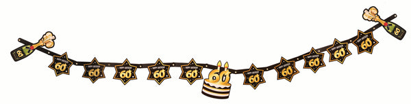 60th birthday milestone banner black with gold number 60 & stars, cake and champagne bottles  1 per package
