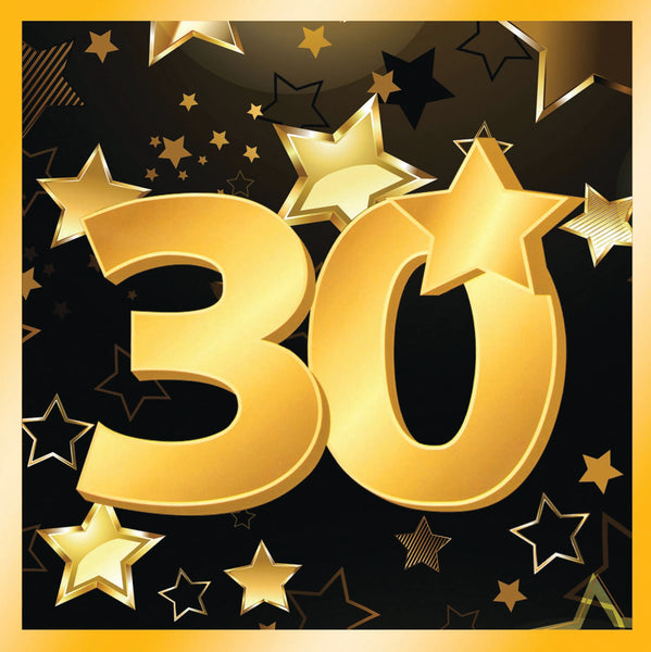 30th birthday milestone black luncheon napkins with gold number 30, stars and edging 16 per package