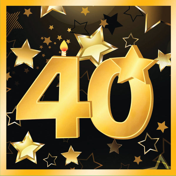 40th birthday milestone black luncheon napkins with gold number 40, stars and edging 16 per package