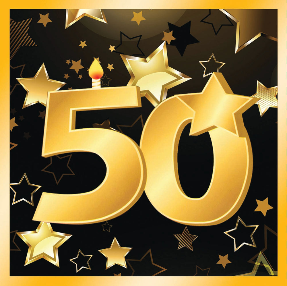 50th birthday milestone black luncheon napkins with gold number 50, stars and edging 8 per package