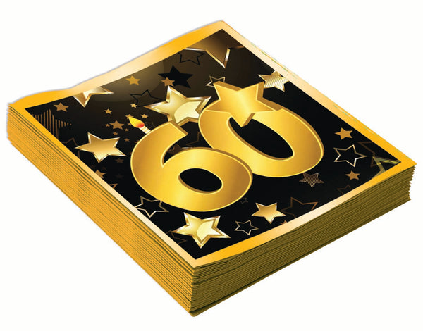 60th birthday milestone black luncheon napkins with gold number 60, stars and edging 16 per package