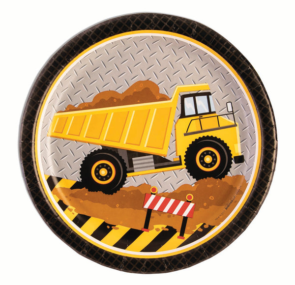 construction party 9 inch dinner plates