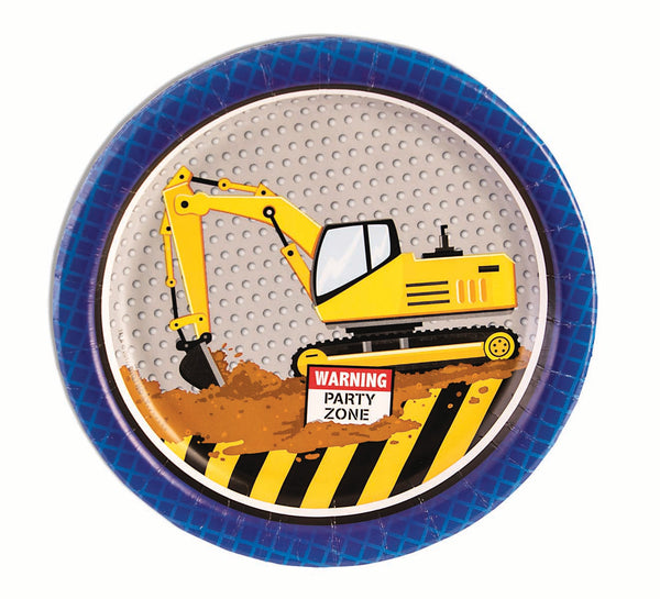 construction party 7 inch dessert plates
