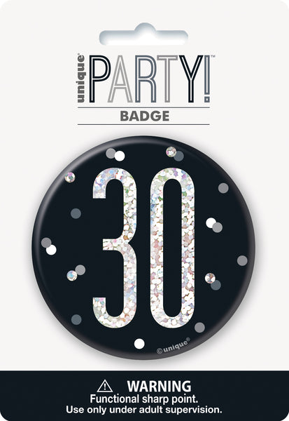 black badge with a prismatic 30 print