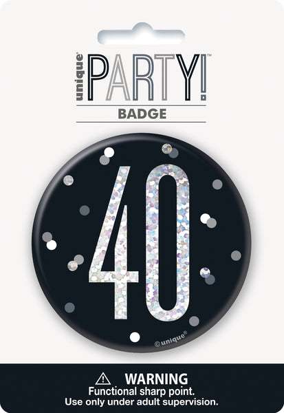 black badge with a prismatic 40 print