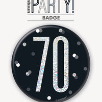 black badge with a prismatic 70 print