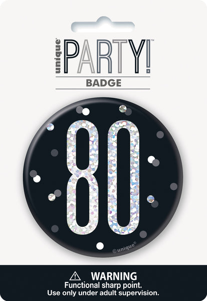 black badge with a prismatic 80 print