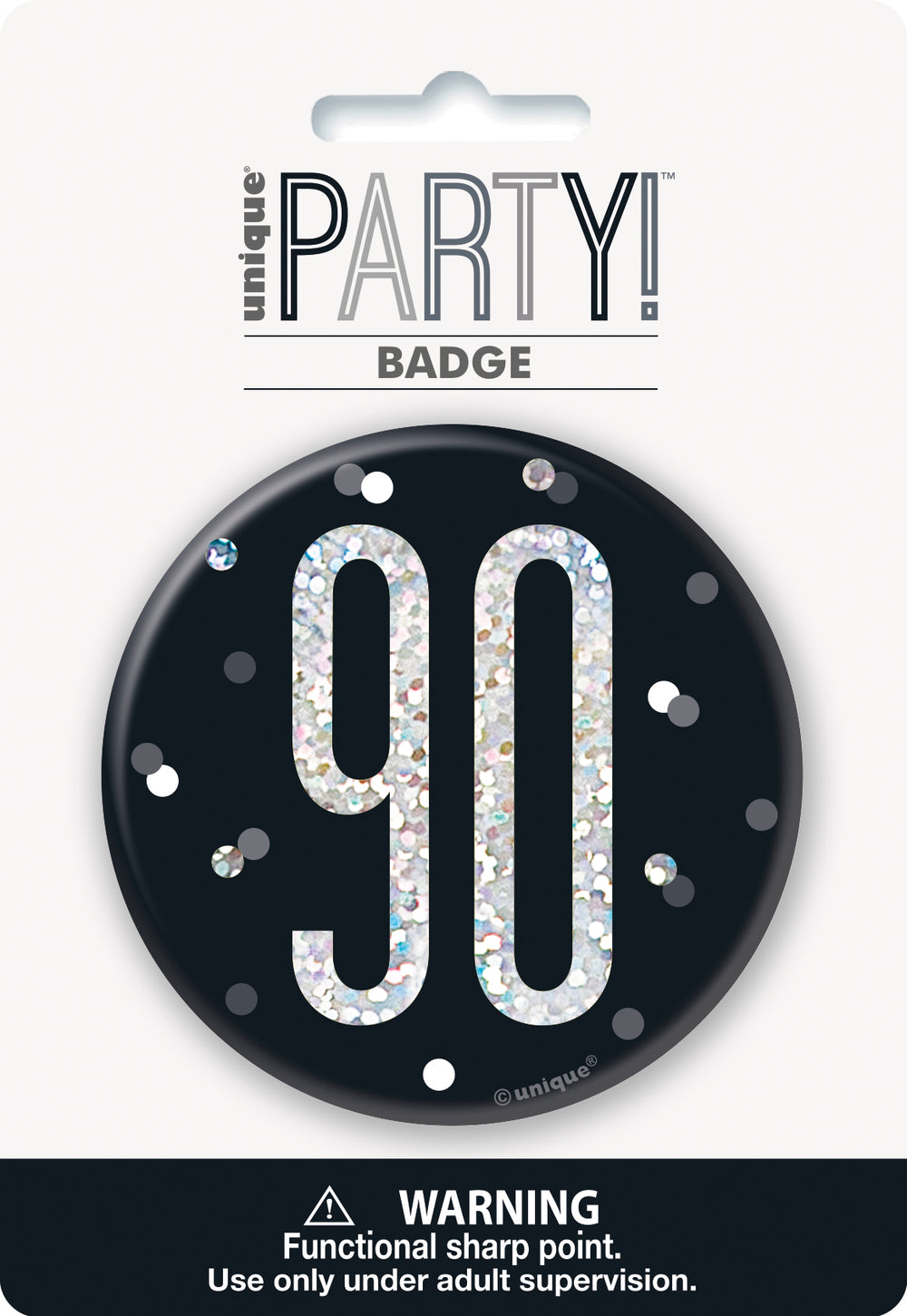 black badge with a prismatic 90 print