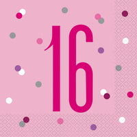 16th Luncheon Napkins Pink Birthday Glitz