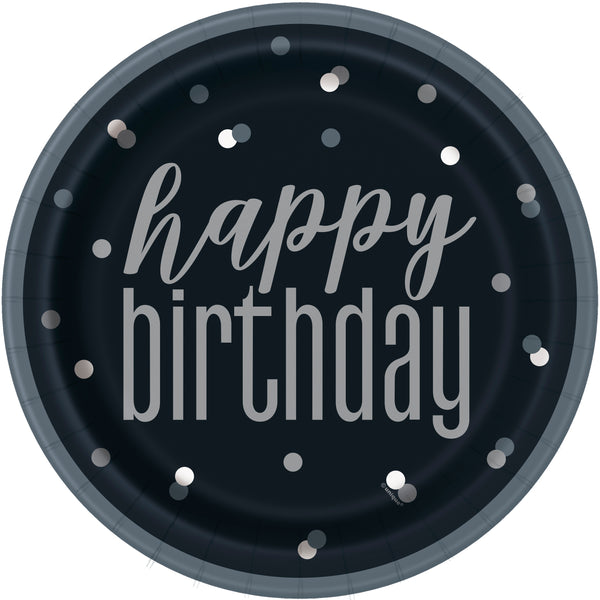 black and grey paper plates with a happy birthday print