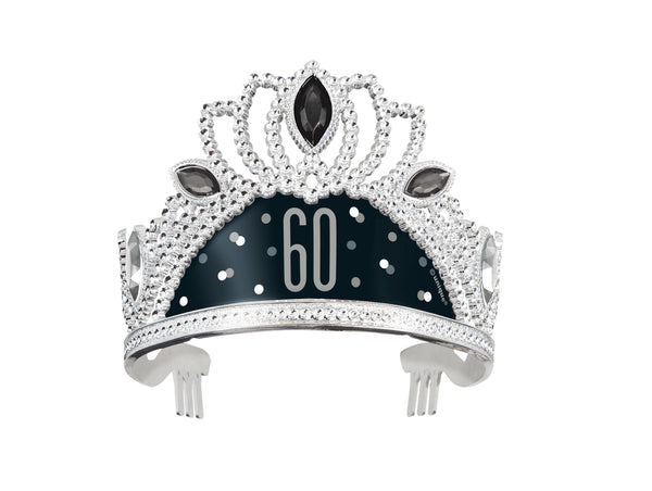 silver tiara with black and grey 60 print