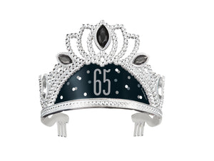 silver tiara with black and grey 65 print