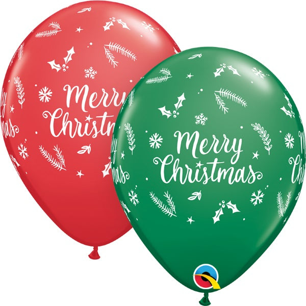 Christmas Evergreen printed latex balloons