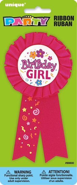 pink birthday girl award ribbon