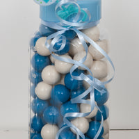 "Baby bottle Bank 11"" Blue filled with blue and white gumballs"