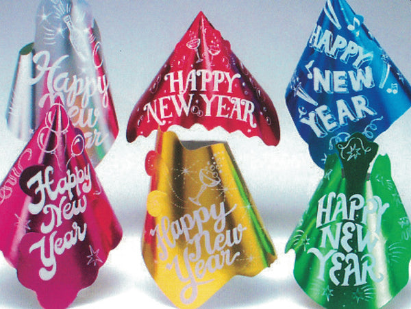 Assorted Colour Foil Happy New Year Hats, 1 per package
