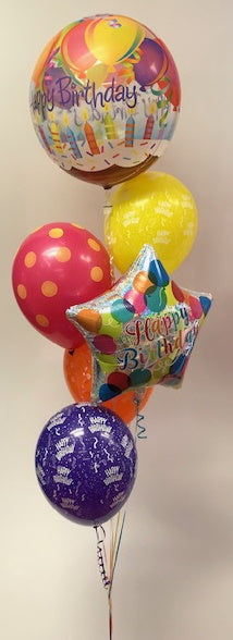 Bubble and star helium filled balloon bouquet