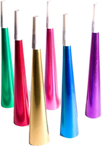 9 inch foil horn in assorted colors, 1 per package