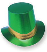 Green Foil Curved Brim Top Hat with gold band