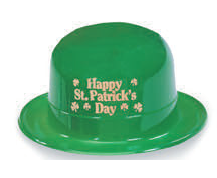 green Plastic Derby Hat with Gold Metallic Happy St. Patrick's Day