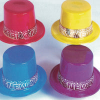 Assorted Colour New Years's  Eve Starry Night Top hat , 1 per package